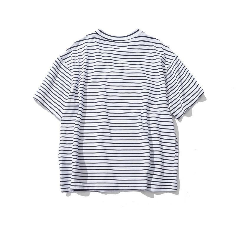 Dark Icon Rose Embroidery Striped Mens T-shirt Short Sleeve 19 Summer Hi-street Oversized Hip Hop Tshirt Cotton Tee Shirts 12