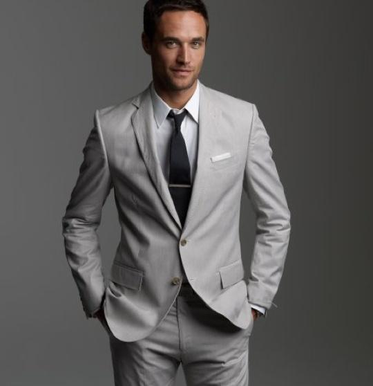 Light Grey Tuxedos Custom Made Men's Suits Prom Suits