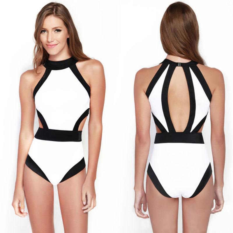 2018 сексуальный купальник купальники для женщин купальный костюм винтажный пляжный закрытый купальник монокини купальник черный/белый