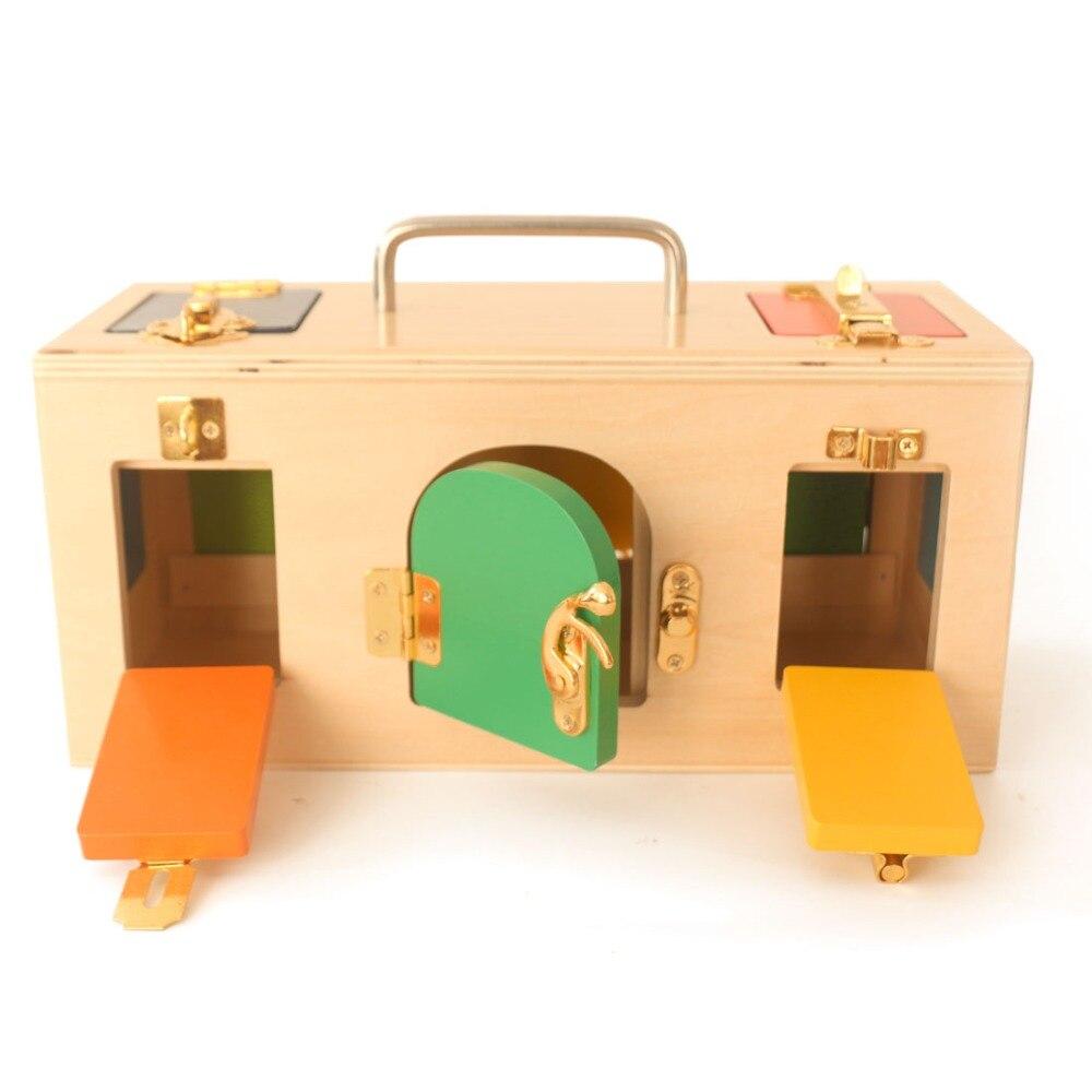 Montessori boîte de verrouillage jouets d'apprentissage Pratique Vie Matériel Mathématiques L'éducation Préscolaire jouets en bois Montessori Bébé B1246T