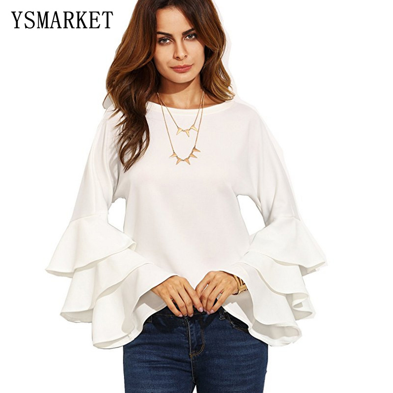 YSMARKET Women Casual   Blouse   Flare Sleeve   Blouse     Shirt   Ruffle Lady Tops Autumn Long Sleeve O-neck Black White Solid Blusa E1390