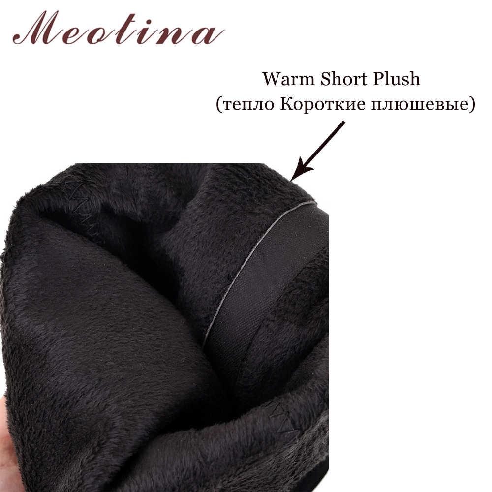 Meotina Mùa Đông Giày Nữ Đầu Gối Giày Cao Khóa Kéo Cương Cao Gót Giày Giày Gợi Cảm Nữ Thu Đông 2018 Đen Kích Thước 34-39