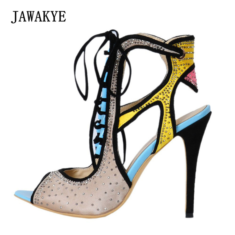 все цены на Cut Outs Women Gladiator Sandals Summer Patchwork Crystal Rhinestone Lace up High Heels Shoes Ankle Strap Pumps Sandalias mujer