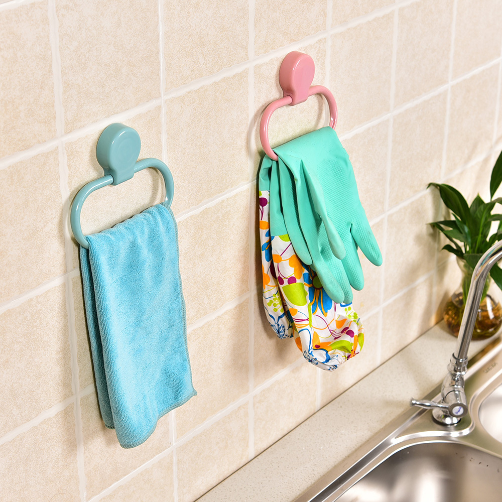 Home Living Punch Free Adhesive Towel Holder Ring Kitchen Rag ...