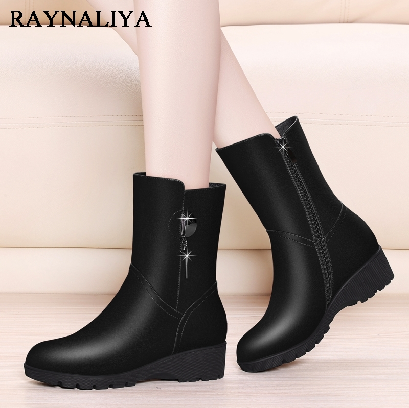 Fashion Genuine Leather Snow Boots For Women Short Warm Winter Round Toe Wedges Med Heel Black Elegant Shoes Woman YG-A0052