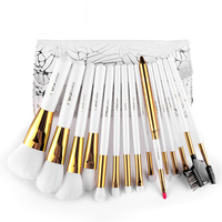 Professional 15pcs Makeup Brushes Kit ProTravel Cosmetic Beauty Brushes Soft Synthetic Hair With PU Leather Case