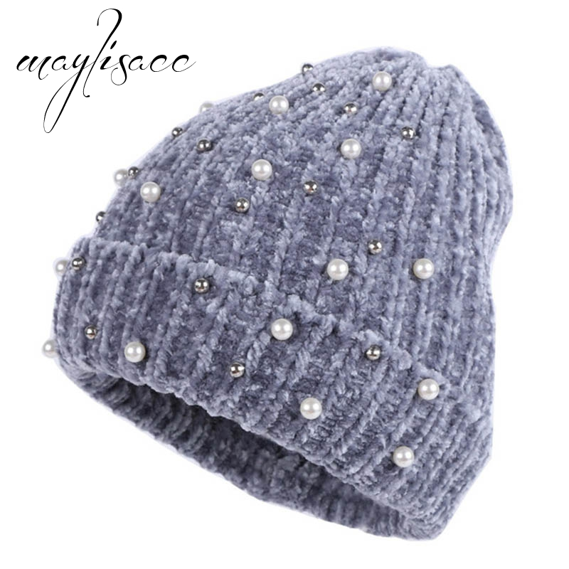 Maylisacc High Quality Women Winter Warm Thicken Kintted Cap   Skullies     Beanies   Chenille Cap for Girls Outdoor Sports Shopping Cap