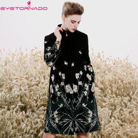 Plus size flower embroidery vintage wool cashmere coat women winter casual work cheongsam woolen outwear Chinese style E7415