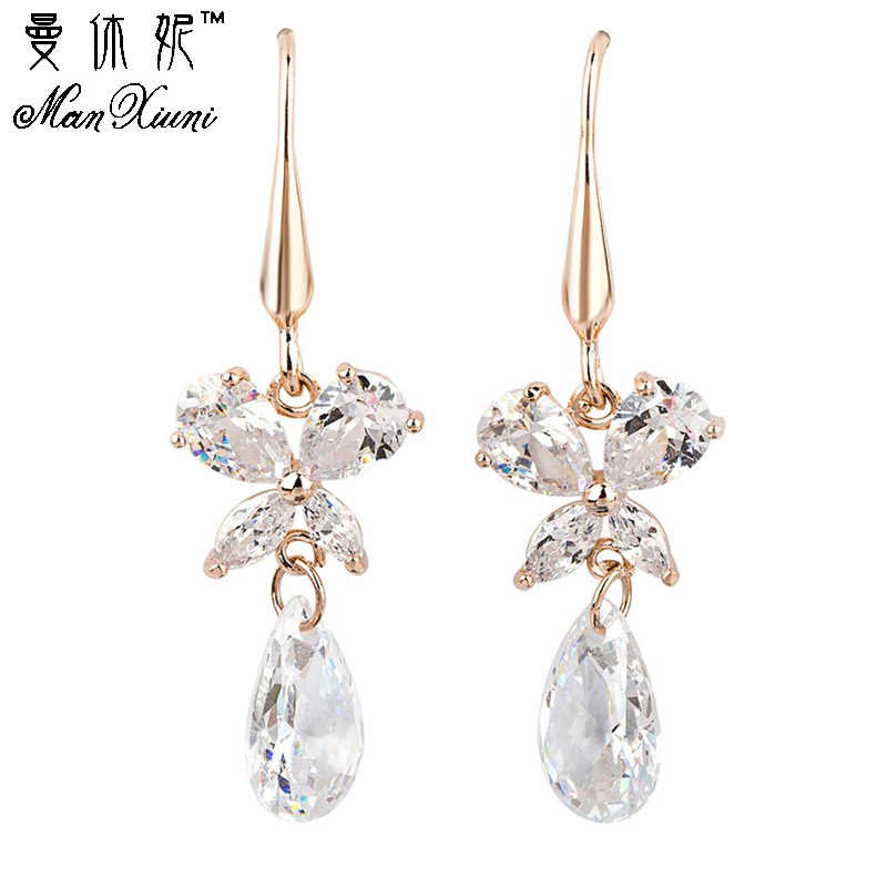 Women Earrings Cubic zircon Gold Colored Earring Fine Jewelry Pendientes For Women Costume jewelry earrings joias e bijuterias
