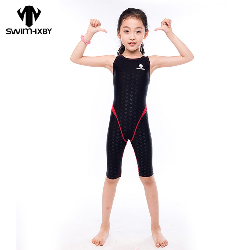 HXBY Professional Racing Swimsuit One Piece Suit Slim Quick-dry Little Girl Swimsuit Children Swimwear Swimming Clothing competition racing one piece swimsuit
