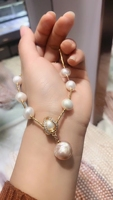 Natural Baroque Pearl Pendant Necklace Anti allergy, Bead Diameter about 12 Mm 14k Gold Jewelry Gifts for Women
