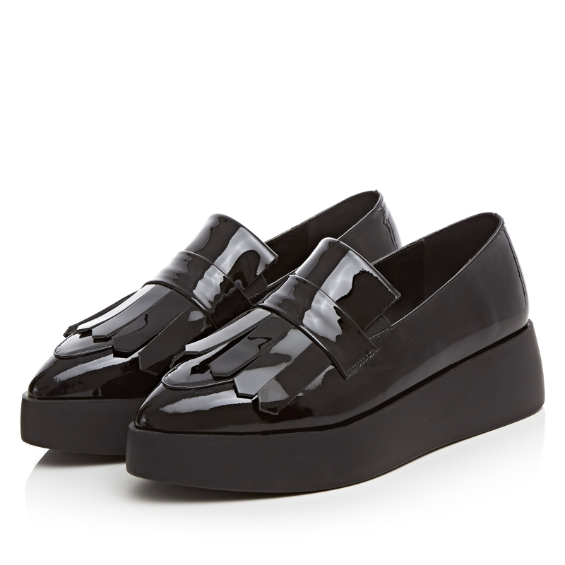 ФОТО Pointed Toe Patent Leather Flats,Fashion Tassel Shoes,Comfortable Slip-On Casual Footwear,Girls Platform Flat,New Design Loafers