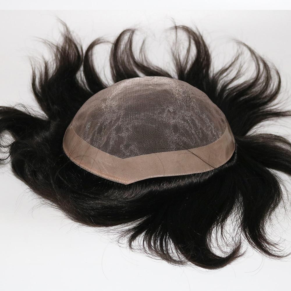 Eversilky Men Toupee 100% Original Human Hair Patch Hair Replacement System Fine Monofilament Wigs For Men Hair Toupee