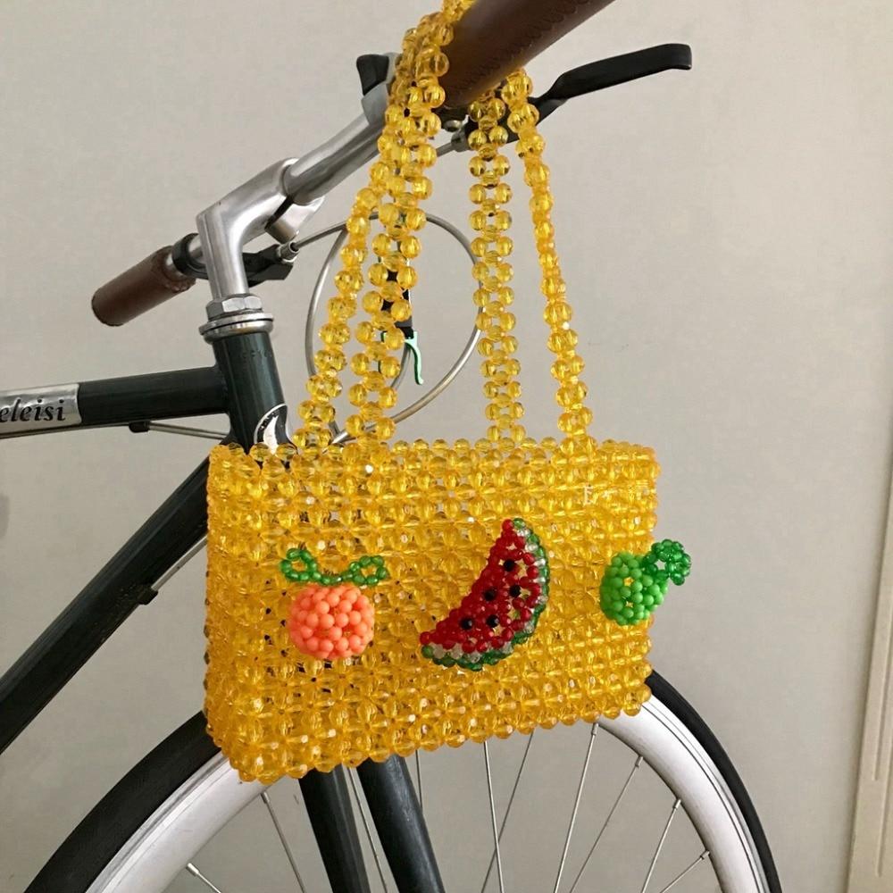 Acrylic pearls bag beaded fruit box totes bag women girls gift party vintage plastic handbag yellow color summer new wholesale