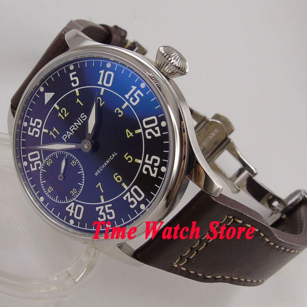 Винтаж 44 мм parnis Классические Механические для мужчин смотреть световой 17 jewels 6497 Рука обмотки двигаться T наручные часы для мужчин 647