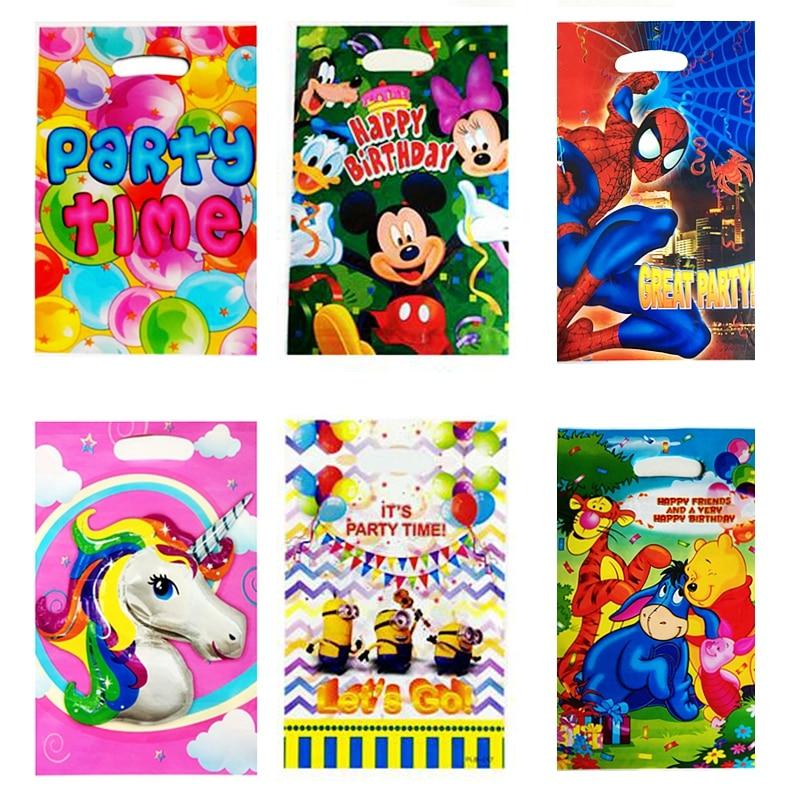 10 Stks Cartoon Gift Bag Superheld Spiderman Eenhoorn Mickey Mouse Winnie De Pooh Kind Verjaardagsfeestje Cake Cookie Plastic Zakken