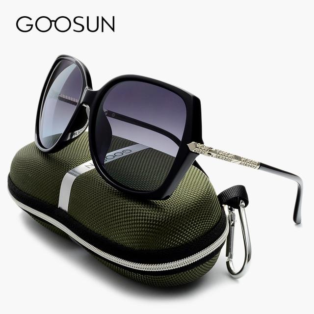 GOOSUN Polarized Sun glasses Women Vintage Oversized Female Sunglasses Luxury Brand Designer Ladies Sun Glasses With Box Black