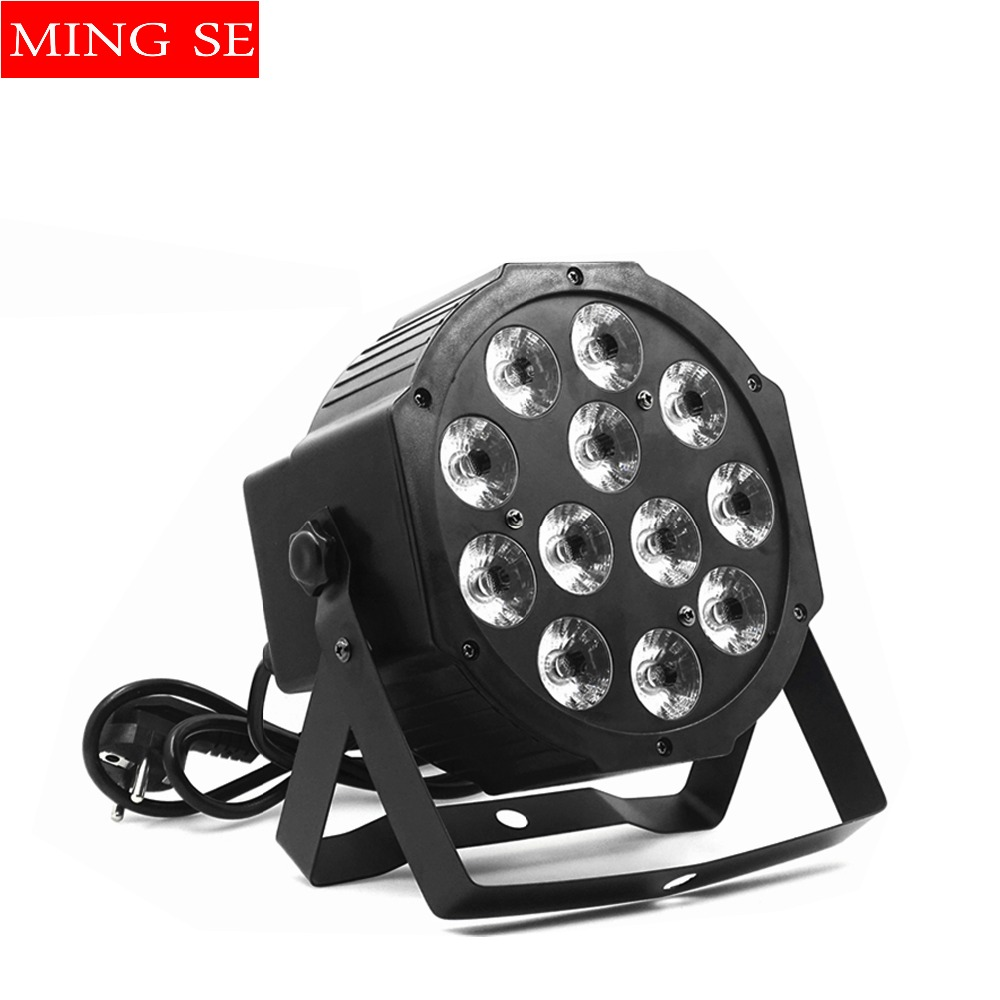 12pcs 12w Led  Lamp Beads 12x12W Led Par Lights RGBW 4in1 Flat Par Led Dmx512 Disco Lights Professional Stage Dj Equipment