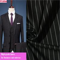 Good Black Striped Business Suit Fabric 150cm Wide Stretch Cotton Polyester Vest Fabric Sewing Material DIY