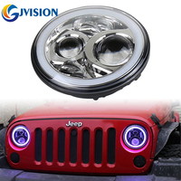 2PCS Chrome 7inch Jeeps RGB Halo LED Headlights Kit 60W With Bluetooth Remote Angel Eyes For