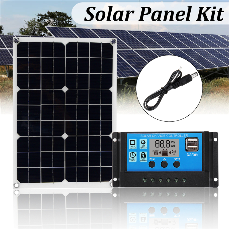 3in1 Solar Power Panel Kit Monocrystalline USB 20W Solar Panel 12V/5V 10A PWM Solar Charger Controller 30cm DC Male Cable3in1 Solar Power Panel Kit Monocrystalline USB 20W Solar Panel 12V/5V 10A PWM Solar Charger Controller 30cm DC Male Cable