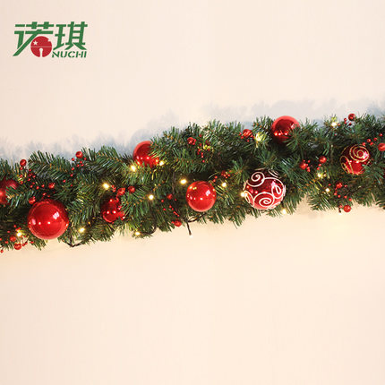 2 7m Christmas Garland Green With Red Gold Bals Lights Ornaments Decorations For Home Freeshipping In Pendant Drop
