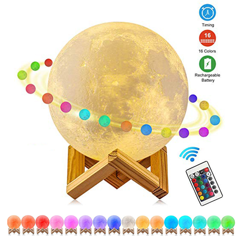Kohree 2019 Moon Lamp 3D Print USB Rechargeable Led Night Light with Remote, Holiday Lighting Birthday Christmas Gifts 8-20cm
