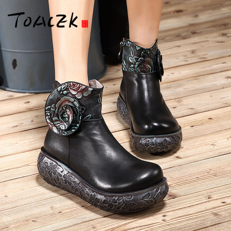 Autumn winter new genuine leather thick bottom short boots female folk style printed single