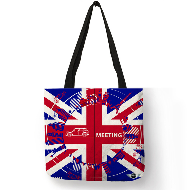 Blue Red Color Linen Female Hand Bag English Flag with Letter Printed Shoulder Bag Double Use Casual Tote Bags Bolsa Femina
