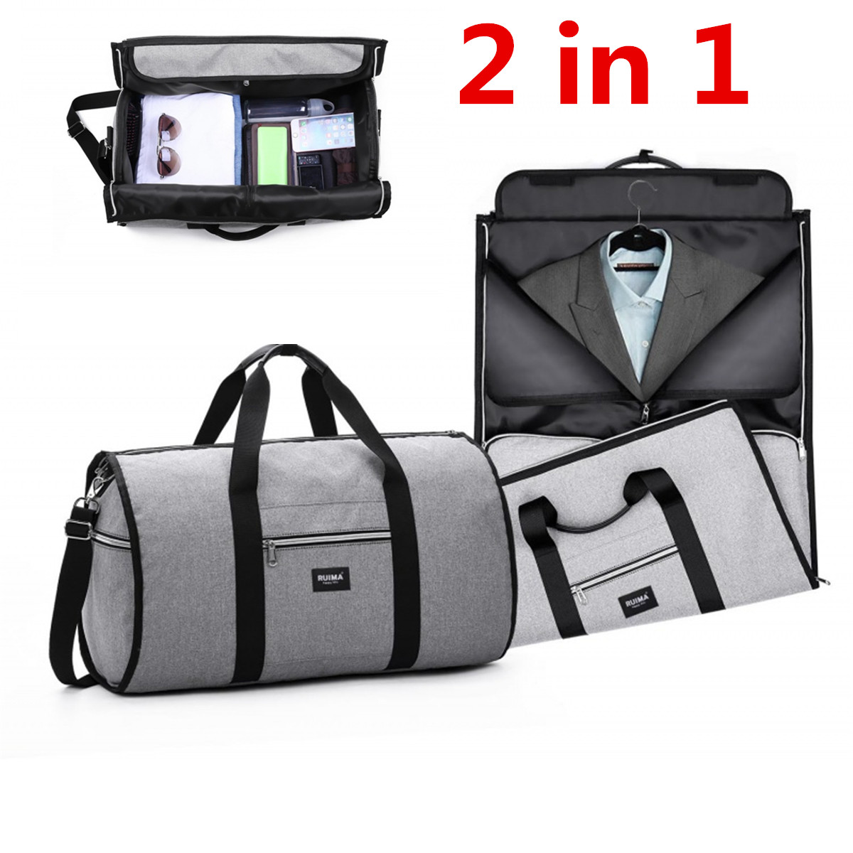 6b836084fb6c 2in1 Waterproof Travel Bag Mens Large Luggage Duffel Totes Garment Bag  Women Travel Shoulder Bag Clothes