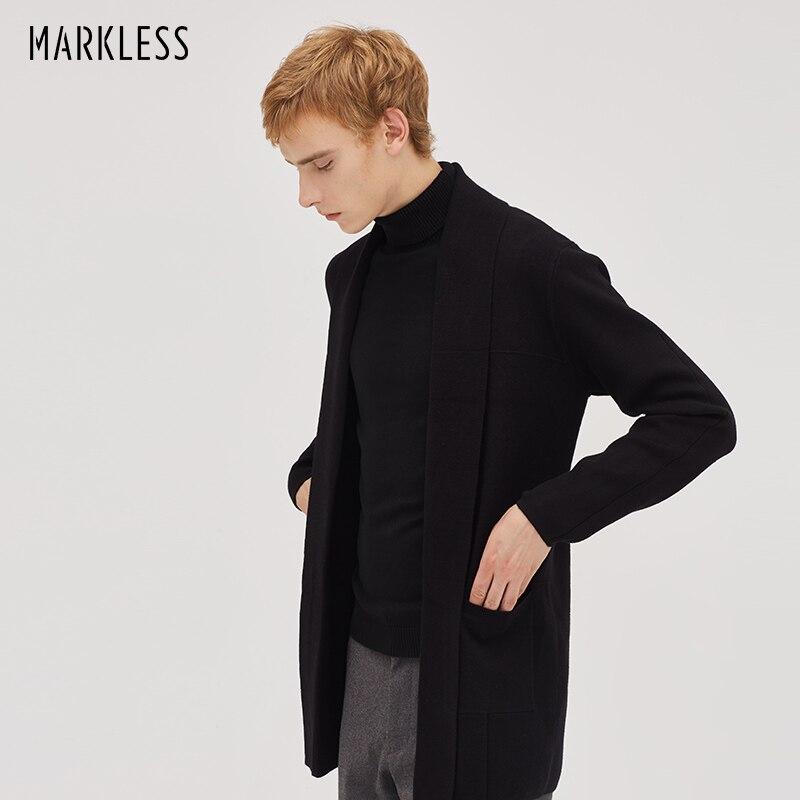 Markless ยาวถักเสื้อสเวตเตอร์ถักผู้ชาย 2018 ฤดูหนาวหนาหนายาวสีดำ V คอเสื้อกันหนาวผู้ชาย sueter hombre ดึง homme 8710-ใน คอวี จาก เสื้อผ้าผู้ชาย บน   1
