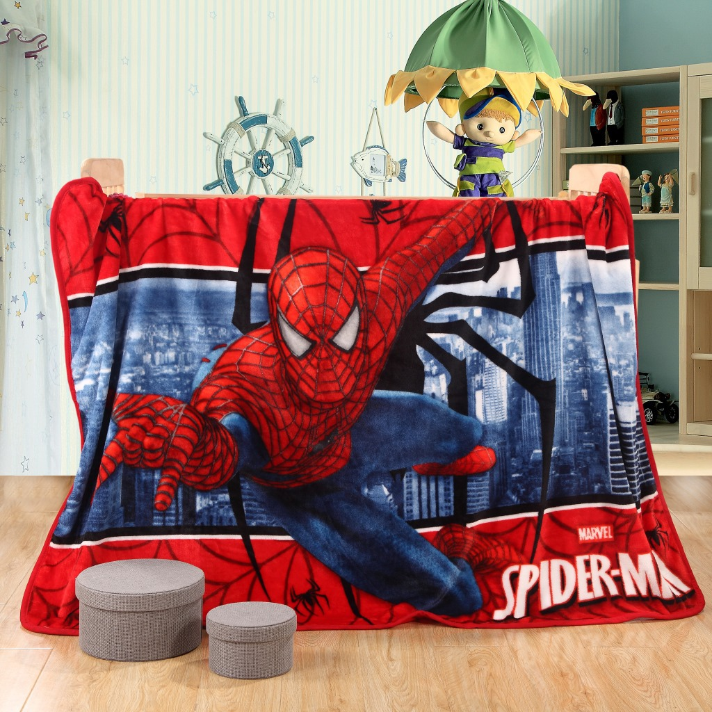 Spiderman Child Blanket Bed Sheets Soft Air Conditioning Baby Blanket Portable Travel Blanket Winter Bedroom Thick Warm Blanket