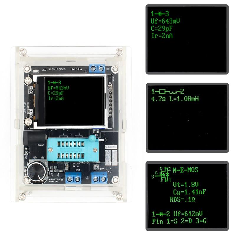 GM328 Multi-use Transistor Tester DIY Kit Diode Capacitance Voltage Meter PWM Square Wave Signal Generator +DIY Acrylic Case