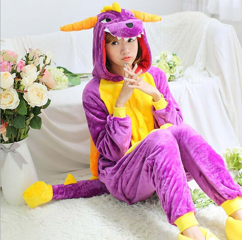 New Fashion Purple Dinosaur Animal Flannel Pajamas One Piece Costume Sleepwear Unisex Ad ...