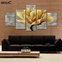 5 Panel Żółte Kwiaty Magnolii Wydruki Na Płótnie Nowoczesne Obrazy do Sypialni Home Decoration Wall Art Blejtram Gotowy do Powieszenia