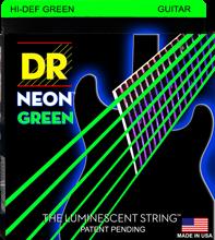 DR K3 高解像度のネオン緑色発光エレキギター弦、ライト 09 42 または中 10 46