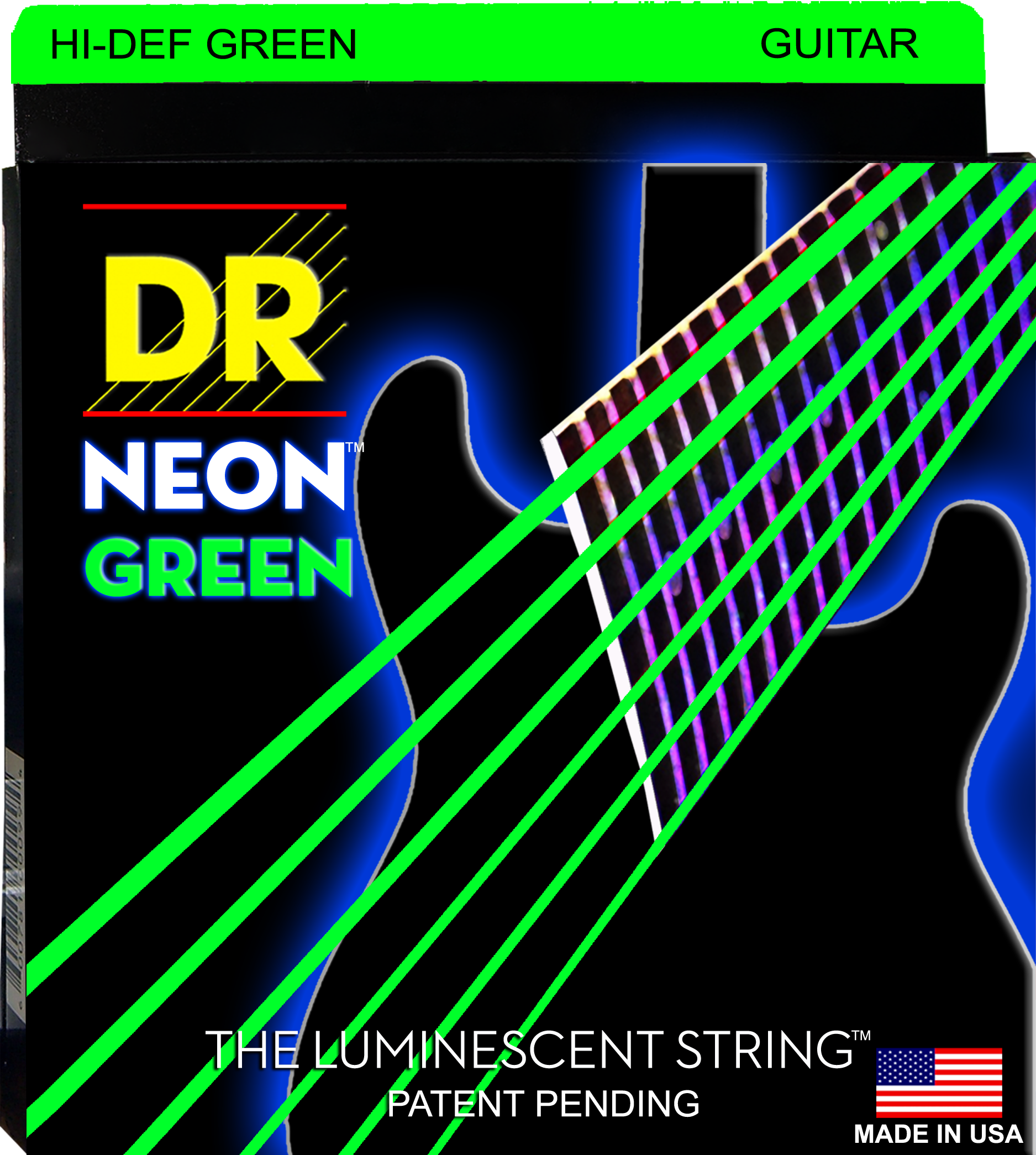 DR K3 Hi-def Neon Green Luminescent Electric Guitar Strings, Light 09-42 Or Medium 10-46