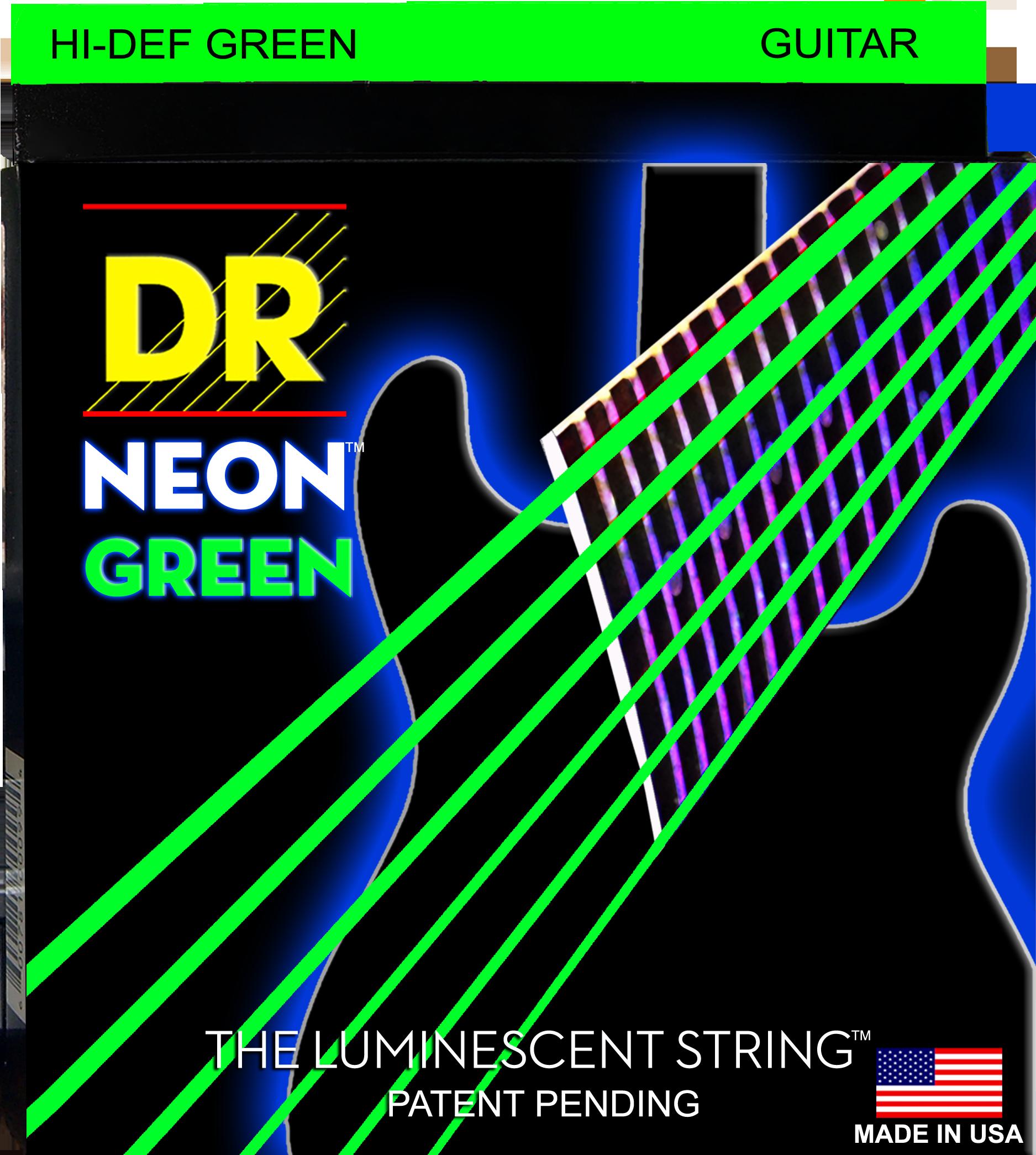 DR K3 Hi-def Neon Green Luminescent Electric Guitar Strings, Light 09-42 Or Medium 10-46