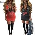 Лето Rad Печати Футболка Dress 2017 Женщин Глубокий V Шеи Зашнуровать Сексуальная Bodycon Повязки Платья Партии Sexy T-Shirt Dress Vestidos