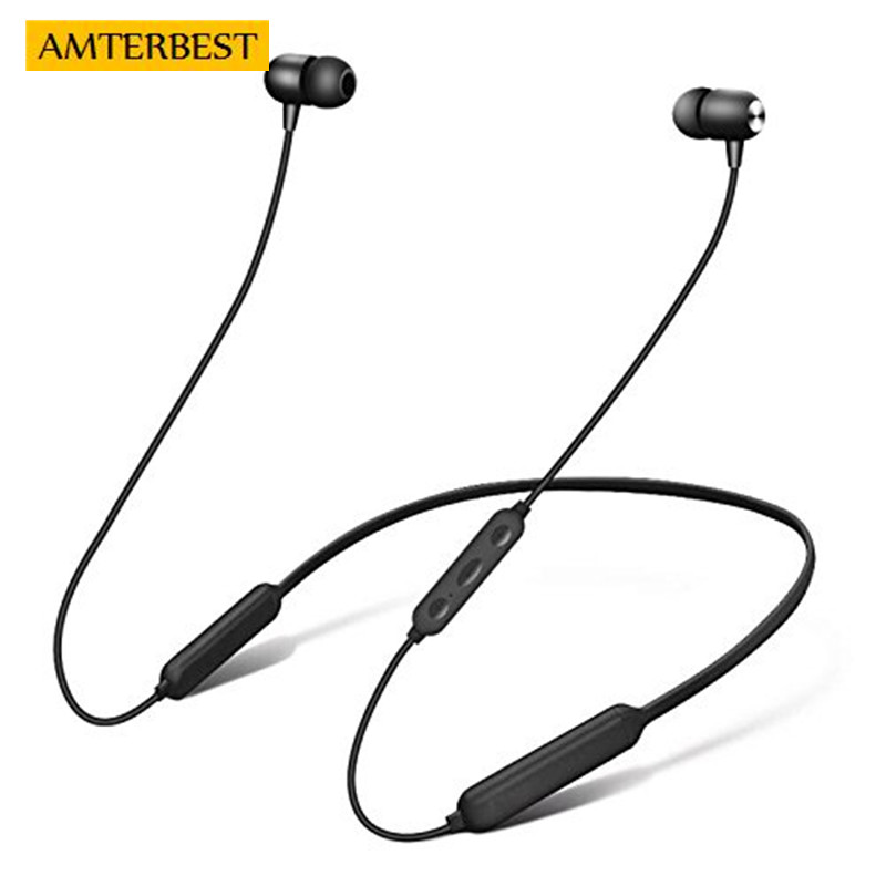 AMTERBEST Wireless Bluetooth Headphones In-Ear EarphonesSports Double battery Noise Cancelling Headsets Magnetic Earbuds