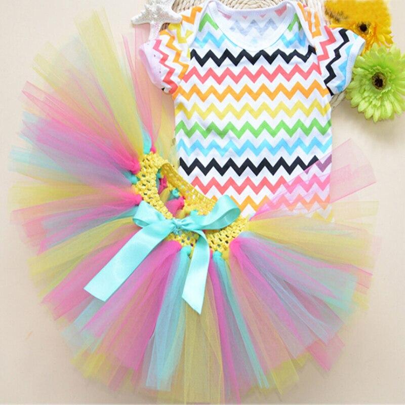 8afb9d78e 3PCs per Set Baby Girl Rainbow Wave Striped Tutu Set Infant Romper ...
