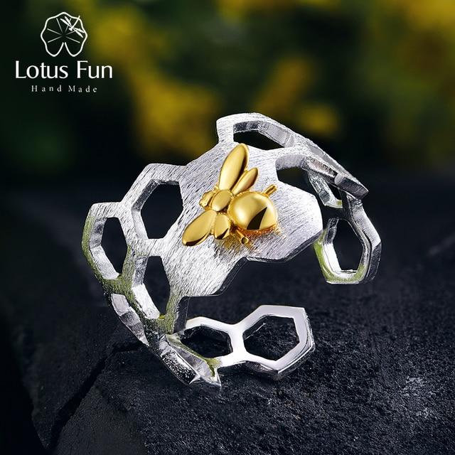 Lotus Fun – Bague à structure en nid dabeille, en argent sterling 925 et or 18 k, de styliste naturel, bijou fin, accessoire tendance pour les dames