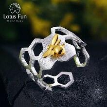 Lotus eğlenceli gerçek 925 ayar gümüş 18K altın arı yüzük doğal tasarımcı güzel takı ev güvenlik petek açık halka kadınlar için