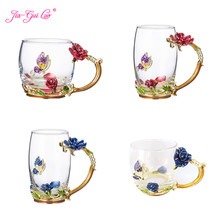 JIA-GUI LUO Crystal Glass Heat-resistant Enamel Creative Coffee Cup Couple Gift Rose Style Unique Birthday G015