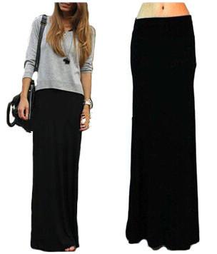 7XL Más Tamaño Primavera Verano Estilo Negro Pliega Cintura Minimalista Jersey de Punto Maxi Largo Para Mujer Saia Faldas Faldas Plisadas