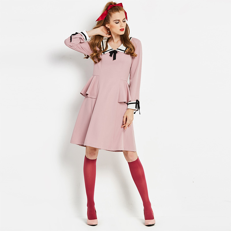 8829818e8d Sisjuly Women s Dresses 2019 Fall Pink Sailor Collar Ruffles Ribbon A-Line Dress  Women s Preppy
