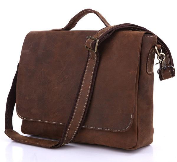 6e61671640f2 Crazy Horse Leather Men S Dark Brown Briefcases Messenger Handbag 7108R-1