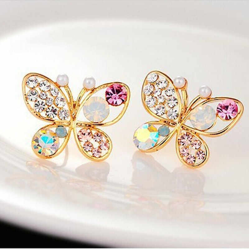 Hollow Shiny Colorful cystal Simulated Pearl Butterfly Stud Earrings for women 4ED21