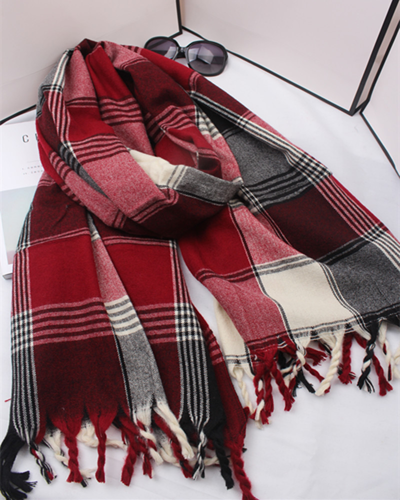 za winter 2017 scarf plaid scarf women blanket oversized wrap shawl cozy checked 90220cm christmas gift in scarves from womens clothing accessories on - Christmas Plaid Scarf