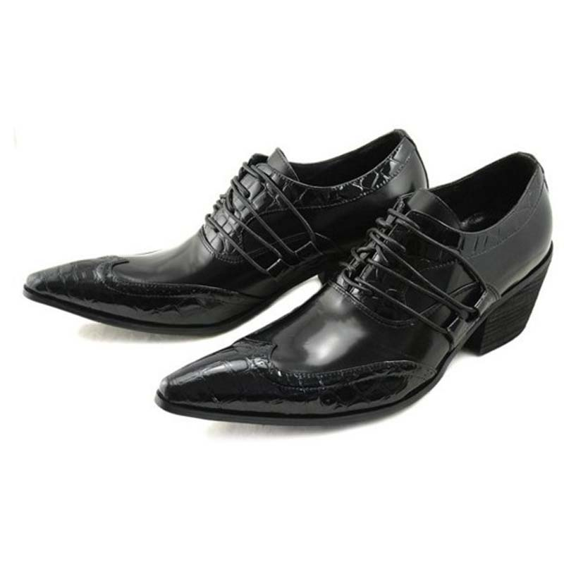 Men business bullock carved dress shoes handmade men oxford shoes lace-up pointed toe high heels formal party wedding shoes new brand designer formal men dress shoes lace up business party oxfords shoes for men pointed toe brogues men s flats plus size